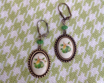 Vintage painted pear glass cabochon earrings