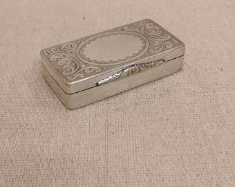 Vintage Silver Trinket box, etched design.