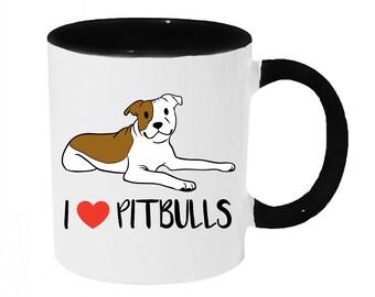 I love Pitbulls [Brown and White] Coffee or Tea 11oz Mug - Perfect Gift for Dog Lovers