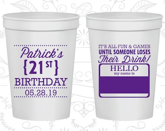 21st Birthday Party Cups, Cheap Party Cup Favors, Name Tags for Birthday, Birthday Party Cups (20276)