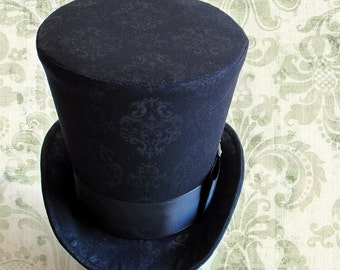 Gothic Ladies Top Hat,Black Top Hat for WOMEN,Victorian Riding Top Hat,Gothic Lolita Cosplay,Black Victorian Hat,Halloween-Made to Order