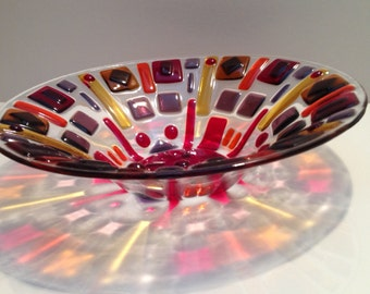 Red Funky Textured Fused Glass Bowl