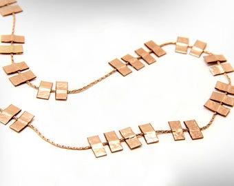 Bohemian Rose Gold Long Women's Necklace, Boho Jewelry Set Free Shipping Holiday Gift