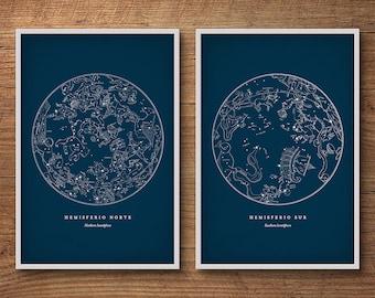 Vintage star map set, Star chart, Star map, Constellation print, Constellation art, Celestial map, Astronomy print, Constellation posters
