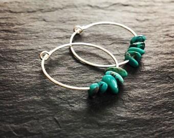 Turquoise hoop earrings. Gemstones on thin sterling silver hoops. Turquoise & skinny hoops.Simple bead hoops. Mother's Day gift personalised
