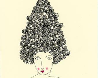 Always Growing-Big Hair, Woman, Art Print,