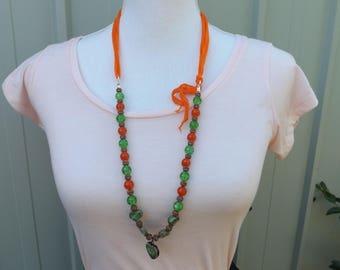 Bird necklace, orange and green necklace, crackle glass necklace, ceramic necklace, ribbon jewellery, Boho necklace, Asymmetrical necklace