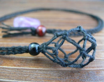 HEMP Pouch Necklace handmade ( Interchangeable ) for Crystal (No come with tumble stone)