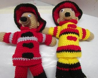 Fireman Bear, Crochet Toy, Stuffed Animal, Plushie, Amigurimi Bear, Firefighter, Bear, Made with yarn,  Crochet Bear Toy, Boy or Girl, Toy