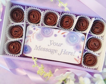 Custom Message in Chocolate - Personalized Rose Chocolates - Message in Chocolates - Watercolor Roses - Custom Card - Sympathy Chocolates