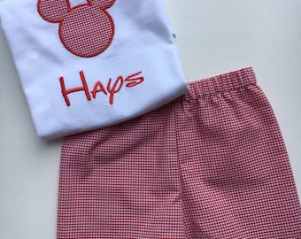 Disney, birthday, shorts set, mickey mouse, boys tee shirt and shorts,  FREE MONOGRAM, diaper cover, jon-jon, shortall, bubble, shorts, tee