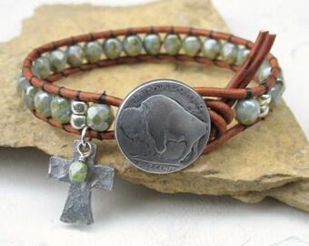 Buffalo Nickel Wrap, Cuff Bracelet, Country Western Beaded Wrap, Green Bracelet for Women, Christian Cross, Boho Bohemian Single Wrap