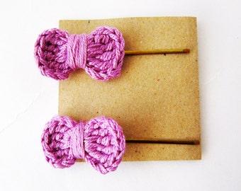 Lilac crochet hair bow, lilac baby bow hair clip, Lilac hair bow pins,  purple bow bobby pin, light purple hairbow, cute girl hair bow