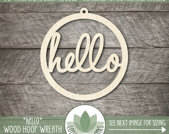 """Hello Word Wood Cut Wall Decor, Unfinished Wood Word """"Hello"""" Laser Cut Sign, DIY Craft Supply, Many Size Options, Blank Wood Shapes"""