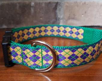 Mardi Gras Purple Green and Gold Argyle Print Dog Collar Large