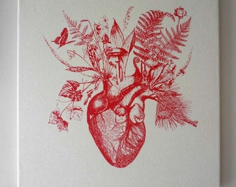 Growing Human Heart silk screened natural canvas wall hanging 18x18 red