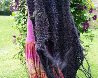 Stevie Nicks Inspired Hand Knit Shawl FREE Shipping in USA