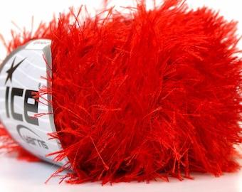 Bright Red Eyelash Yarn 22761 Ice Fire Engine Red Fun Fur 82Y