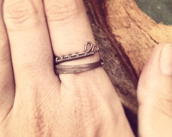 Clearance! Wirewrapped and Hammered Adjustable Ring