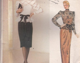 ON SALE 1980s Vogue American Designer Pattern - Kasper 1189 Top and Dress Size 12 Cut and complete