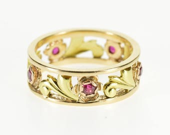 14k Two Tone Ruby Ornate Scroll Vine Band Ring Gold
