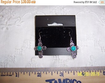 SUMMER SALE 20% OFF, Vintage Filigree and Blue stone cross earrings. Sterling silver.