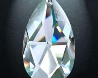 "10 Asfour Crystal Chandelier 50mm Clear Teardrops Prisms Almond 2"""
