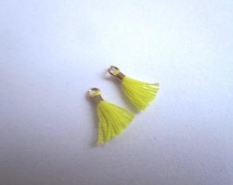 Set of 2 mini yellow Pompom