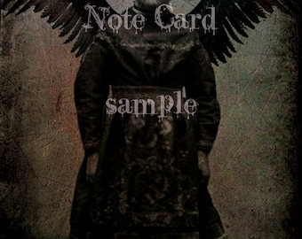 NOTE CARD no1 Little Girl Dark Angel Gothic Girl Halloween 5.5 x 4 Suitable for FRAMING Art Print Rare Photo Dark Art Witch Gypsy