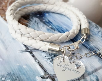 Personalized Mothers Day Gift, White bracelet with engraved charm, Children names bracelet