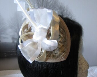 Beige Fascinator, White Feathers and Stunning bow, Alligator Clip, Wedding Fascinator, Fascinator, Flower Fascinator, Accessories