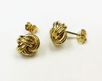 14k solid yellow gold(15mm)engraved love knot stud earrings
