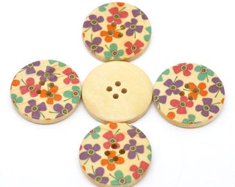 5 Floral (Design 10) Painted Wood Button Four Hole Natural Wood Colour 30mm - 5 Pack NPB28
