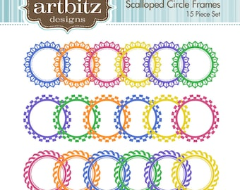Scalloped Circle Digital Frames, Set of 15, No. 20002 Clip Art Kit, 300 dpi .jpg and .png, Instant Download!