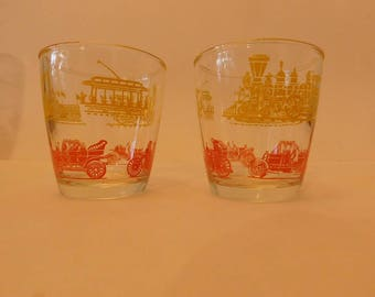 Set of two vintage old fashioned glasses with transportation theme