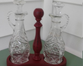 A Vintage Wood And Cut Glass Oil And Vinegar Cruet Set, Up-Cycled In Barn Red