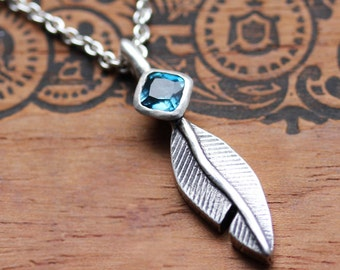 Silver feather necklace silver, silver boho necklace, London blue topaz necklace, oxidized silver December birthstone necklace, custom