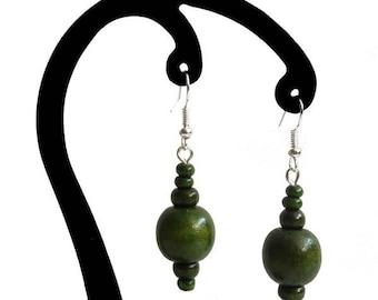 Dark green wood earrings