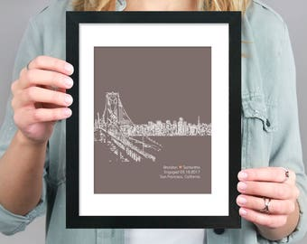 San Francisco City Skyline, Wedding Gift City Skyline, Bridal Shower Gift, Honeymoon Keepsake, City Skyline, First Anniversary Gift- 8x10