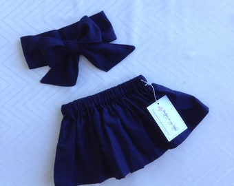 Baby Skirt, Toddler Skirt, Baby Girl Outfit, Skirt, Bow Headwrap, Baby Headwrap, Hair Bow, Headwrap, Big Bow, Navy blue, Navy blue