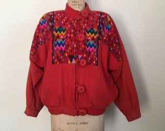 Guatemalan Huipil Jacket Vintage Ixmucane Embroidered Jacket