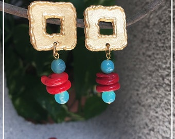 Earrings with blue agate and red coral cut