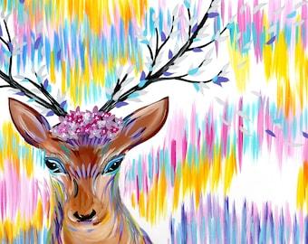 """deer art, deer, paintings of deer, painting of a deer, deer painting, bright paintings, boho, paintings, presents, with, rainbow,art,36""""x24"""""""
