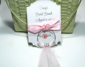 Bridal Brunch Favors - Mrs.  - Wine Glass Charm Favors - Set of 10 - Personalized - Custom - Unique - Wine Glass Tags