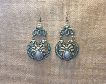 Handmade Ornate Teal Earrings