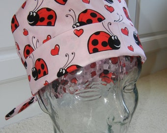 Tie Back Surgical Scrub Hat with Ladybugs on Pink