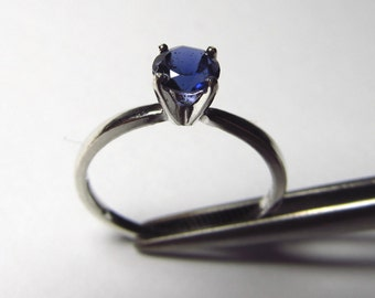 Petite Genuine Iolite in Sterling Silver Ring Size 7
