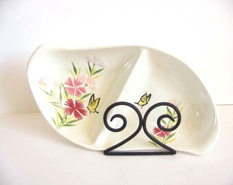 Red Wing Pottery Divided Serving Dish, Pink Spice Pattern, Vintage 1950s