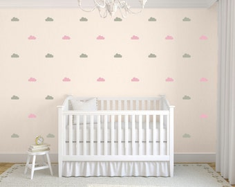 Clouds Wall Decals, Tiny Cloud Decals, Small Cloud Stickers, Childrens Wall Decals, 2 Color Cloud Wall Decals