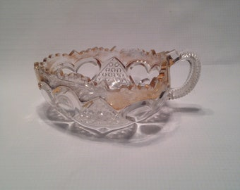 Crystal Sauce Dish with Gold Trim